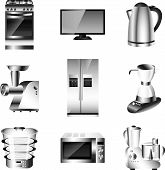 image of food processor  - electronic devices kitchen appliances detailed vector set - JPG