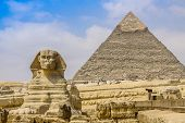 stock photo of human pyramid  - Sphinx and the Great Pyramid in the Egypt - JPG