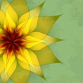 image of sunny season  - Vintage abstract green background with golden flower - JPG