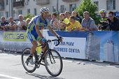 KIEV, UKRAINE - MAY 24: Mykhaylo Kononenko, Kolss cycling team, Ukraine, win bronze in the bicycle r