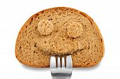 foto of starving  - Bread slice as smiling face with fork in your mouth on white - JPG
