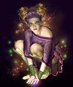 image of pixie  - a little fairy with golden headdress surrounded by light sparks - JPG