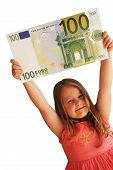 picture of nyse  - Little Child holding 100 Euro in the hands - JPG