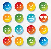 stock photo of angry smiley  - Set of faces with various emotion expressions - JPG