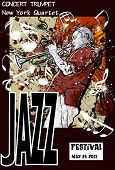 foto of trumpet  - Vector illustration of a Jazz poster with trumpeter - JPG