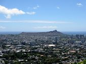 Diamondhead And The City Of Honolulu On Oahu On A Clear Day