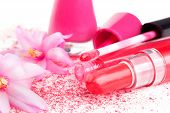 stock photo of face-powder  - Luxurious pink make up still life - JPG