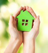 foto of environment-friendly  - closeup picture of woman hands holding green house - JPG