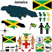 stock photo of jamaican flag  - Vector of Jamaica set with detailed country shape with region borders flags and icons - JPG