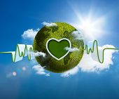 stock photo of waveform  - Green and white waveform with green earth and heart shape on blue sky background - JPG