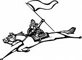 stock photo of valkyrie  - Woodcut style image of a Norse Valkyrie riding a horse and holding a flag - JPG
