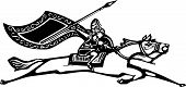 pic of valkyrie  - Woodcut style image of a Norse Valkyrie riding a horse waving a spear - JPG