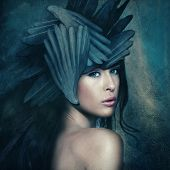 stock photo of goddess  - fantasy warrior goddess with helmet - JPG