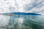 stock photo of montre  - Panorama of Geneva lake with steamboat Montreux - JPG