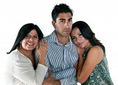 stock photo of promiscuous  - Mature womans falling in love with young latin man - JPG