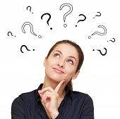 stock photo of confuse  - Thinking smiling woman with questions mark above head looking up isolated on white background - JPG
