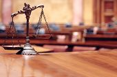 stock photo of courtroom  - Symbol of law and justice, law and justice concept, scales of justice.