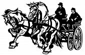 foto of carriage horse  - two horses drawn carriage black and white isolated illustration - JPG