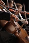 stock photo of cello  - Symphony concert a man playing the cello hand close up - JPG