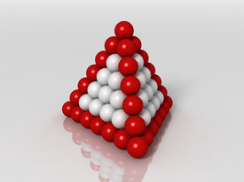 stock photo of tetrahedron  - 3d generated illustration of tetrahedron buildup with red and white balls - JPG