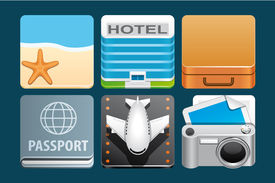pic of passport template  - Set of vacation icons  - JPG