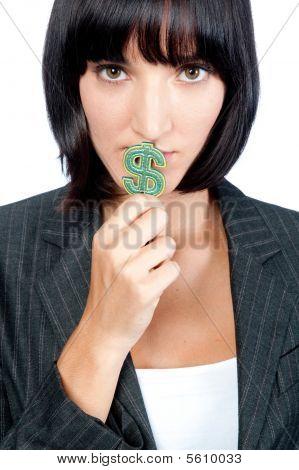 Businesswoman With Money Symbol