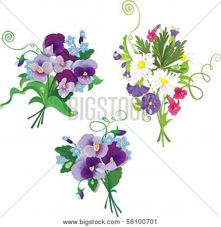Set Of Holidays Bouquets With Chamomiles, Pansies And Forget Me Not Flowers Isolated On White Backgr