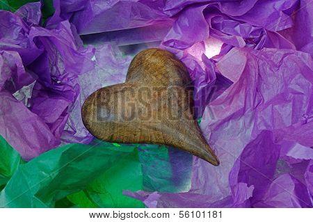 Antique Wooden Heart In Tissue Paper