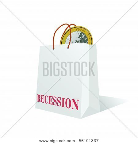 Recession With Euro Coin Color Vector Illustration