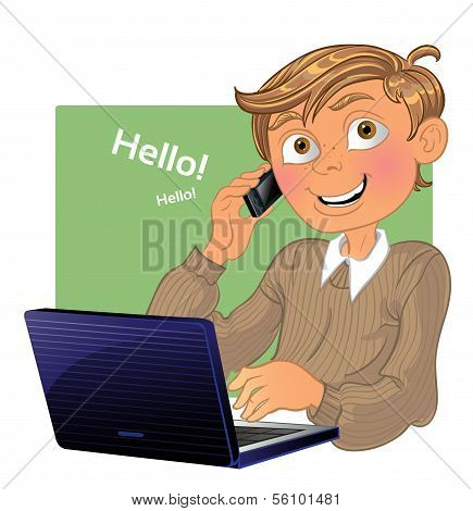 Boy with phone and laptop