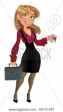 Blond in wine red chemise with cup of tea or coffee