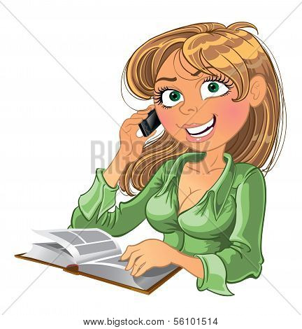 Blond woman with phone and book