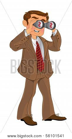 businessman in brown suit with binoculars look on money
