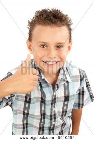 Cute Kid Making Thumbs Up Sign