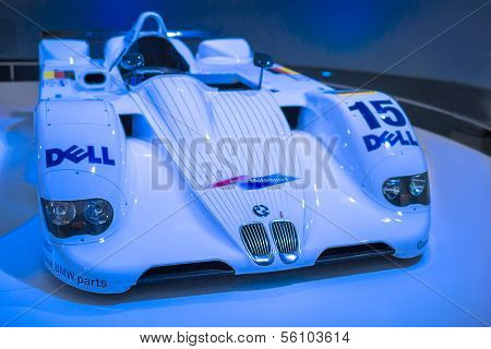 MUNICH, GERMANY - JUNE 17, 2012: : Bmw V12 Lmr Racing Car Is Being Demonstrating On Stand  In Bmw Mu