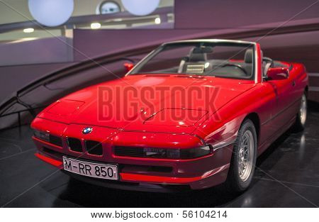 MUNICH, GERMANY - JUNE 17, 2012: Bmw 850 -series Car On Stand In Bmw Museum in June 17th , 2012 in M