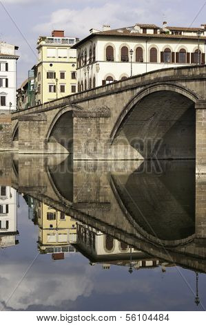 Ponte Alla Carraia Bridge Reflected On River Arno