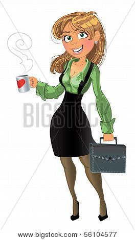 businesswuman with cup and brief case