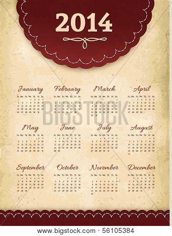 Vector vintage grunge 2014 calendar