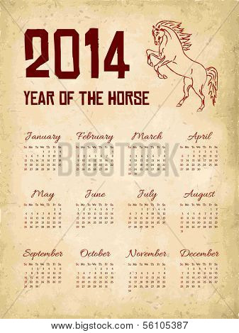 Vector grunge 2014 year of the horse calendar