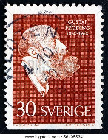 Estampilla Suecia 1960 Gustaf Froding, poeta y escritor