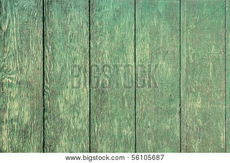 Weathered Green Wood Plank Background