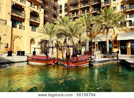 View Of The Souk Madinat Jumeirah And Abra Boats, Dubai, Uae
