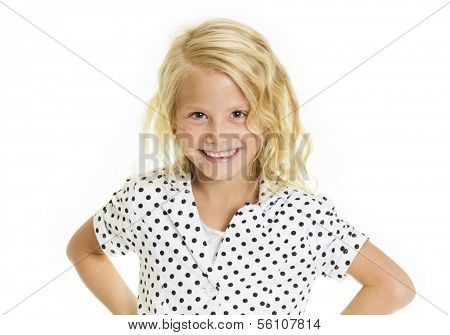 Cute little girl with a sassy and fun expression