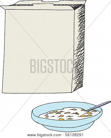 Open Cereal Box And Bowl