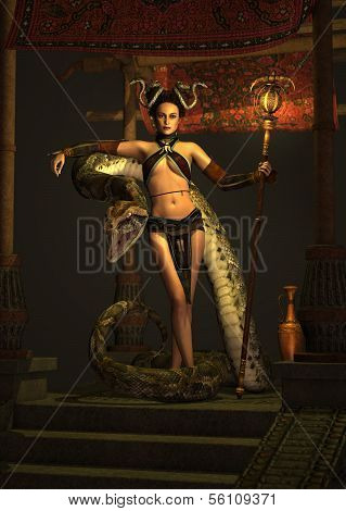 die Schlange Priesterin 3d cg