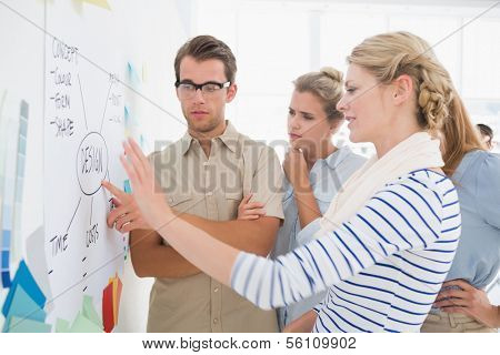Group of artists in discussion in front of whiteboard at office