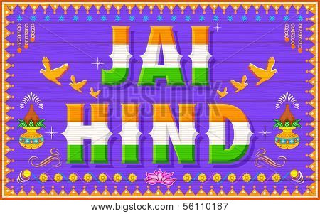 illustration of Jai Hind (Victory to India)  in truck paint style