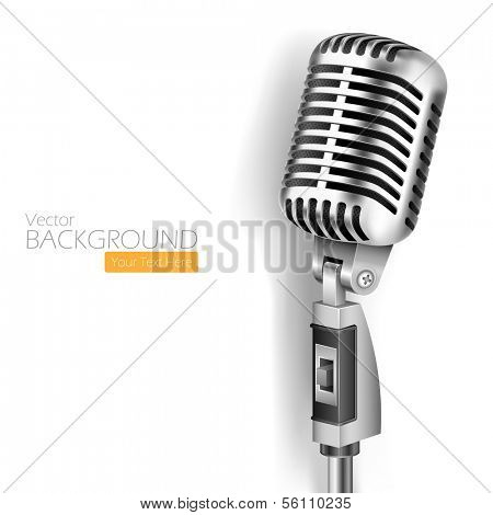 illustration of Vintage Microphone on white background