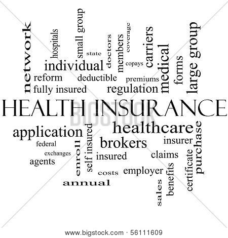 Health Insurance Word Cloud Concept In Black And White